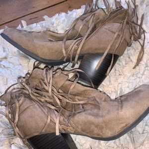 Taupe fringe boots